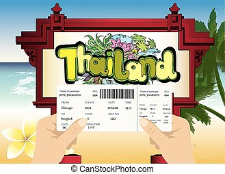 blank airline boarding pass in hand. Thailand beach view in...