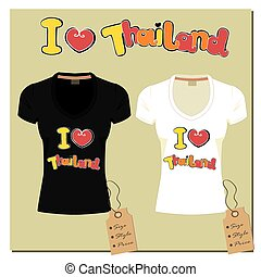 Black and white T-shirt with inscription I love Thailand