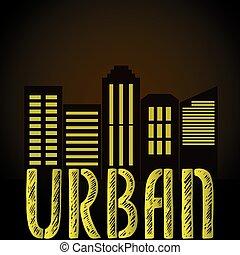 Urban word,night city silhouette