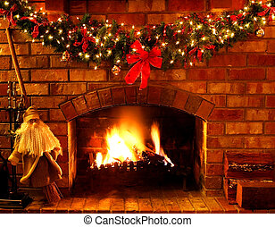 Christmas Fireplace - Log fire with Christmas garland and...
