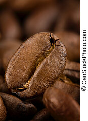 Coffee beans - Many of roasted coffee beans. Close-con...