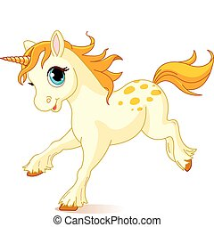 Running baby unicorn - Illustration of cute running...
