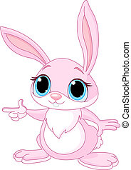 Pointing bunny - Cute pink bunny pointing