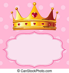 Princess Crown on pink background - Beautiful shining true...