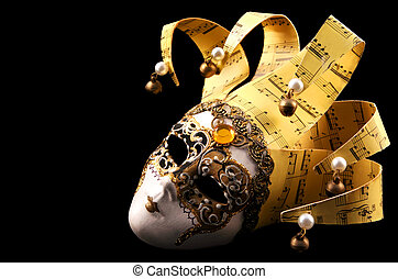 Golden Venetian Mask - Golden Venetian mask, isolated on...
