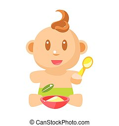 Small Happy Baby Boy In Green Nappy Eating Porridge With...