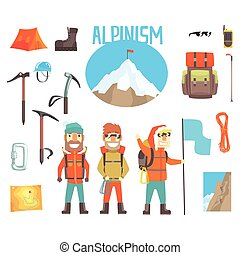 Three Mountaineers And Mountaineering Equipment Set Of...