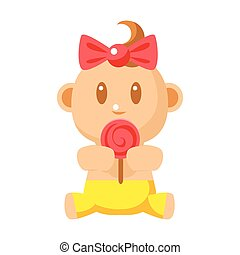 Small Happy Baby Girl In Yellow Pants Eating A Lollypop...