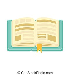 Hard Cover Open Book With Bookmark, Object From Baby Room,...