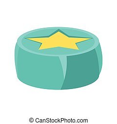 Round Beanbag Chair In Blue Color With Yellow Star, Object...
