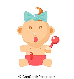 Small Happy Baby Girl Sitting With Toy Shaker In Red Nappy...