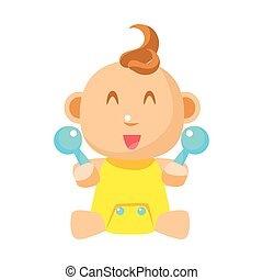 Small Happy Baby In Yellow Onesie With Two Toy Shakers Vector Simple Illustrations With Cute Infant