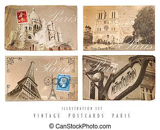 Vintage Postcards Set Paris - Set with four Vintage...
