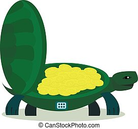 Cute turtle with coin, turtle safe icon isolated on a white...