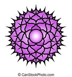 Seven major chakras. Sahasrara symbol. Crown chakra is...