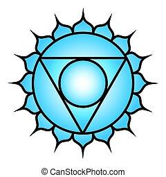 Seven major chakras. Vishuddha symbol. Vishuddhi, or throat...