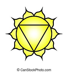 Seven major chakras. Manipura symbol. Solar plexus/navel chakra is symbolised by a downward pointing triangle with ten petals, along with the colour yellow. Vector Format.