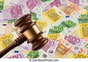 Euro banknotes and Gavel