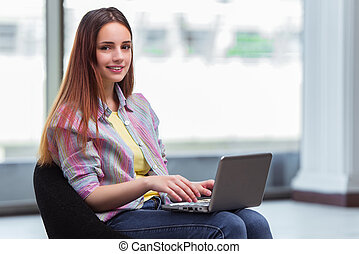 laptop, surfando, jovem, menina,  Internet