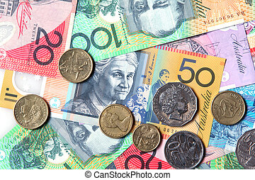 Australian Money - Full-frame of Australian notes and coins.