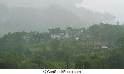Rain pours over the fields of Kintamani, Bali. Winter rainy...