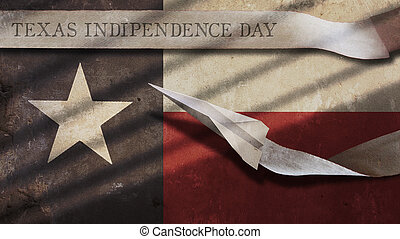 Texas Independence Day. Flag and Airplane - Texas...