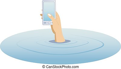 Hand with a telephone rising from the water