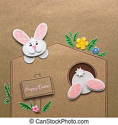 Happy easter. - Creative easter concept photo of rabbits in...
