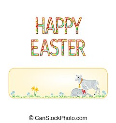 Banner Happy easter lamb and sheeps with spring flowers    vector.eps