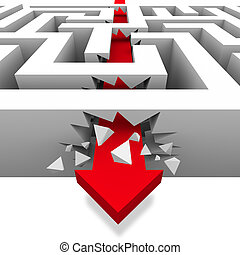 Breaking Through the Maze to Freedom - A red arrow crashes...