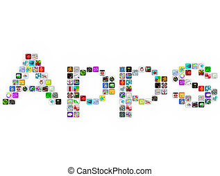 Apps - Tile Icons Form Word on White Background - The word...
