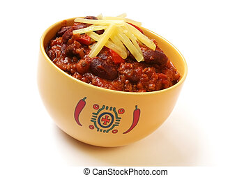 Chili - A bowl of home made chili, with beans and grated...