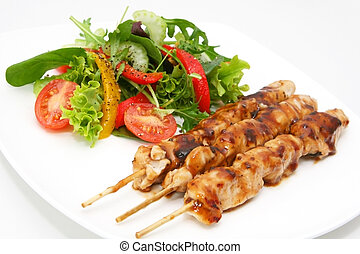 Chicken Satay - Delicious chicken satay skewers with fresh...