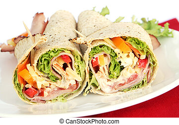 Ham Wrap Sandwich - Ham wrap sandwich with salad and...