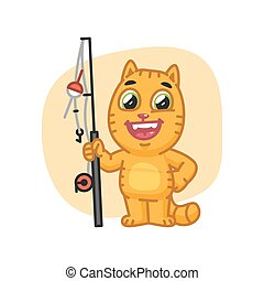 Cat Happy Holding Fishing Rod and Laughs - Vector...
