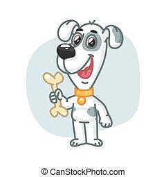 Dog Holding Bone and Smiling