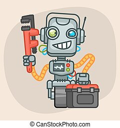 Robot Holds Suitcase and Pipe Wrench - Vector Illustration,...