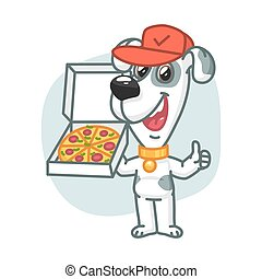 Dog Holding Pizza and Showing Thumbs Up