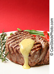 Filet Mignon - Thick filet mignon with bearnaise sauce,...