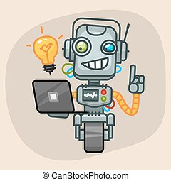 Robot Holding Laptop and Came Up Idea - Vector Illustration,...