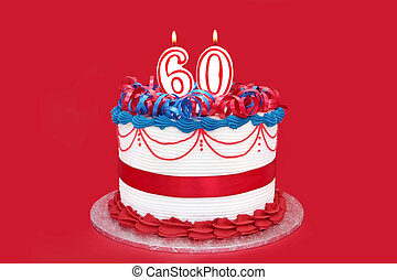 60th Cake - 60th cake, with numeral candles, on vibrant red...