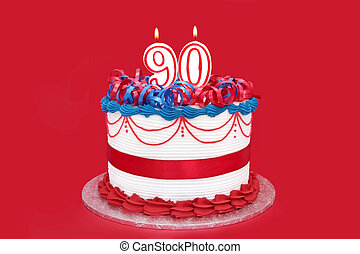 90th Cake - 90th cake with numeral candles, on vibrant red...