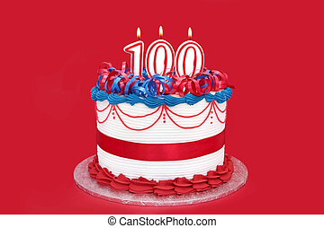 100th Cake - 100th cake with numeral candles, on vibrant red...