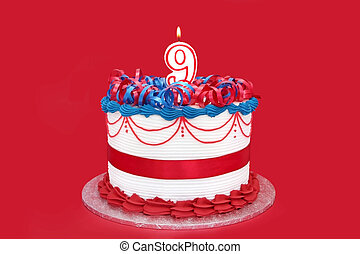 9th Cake - Cake with a number 9 candle, on vibrant red...