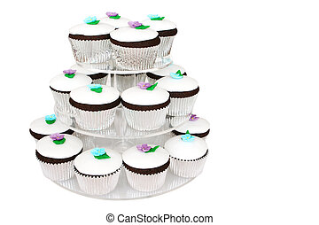 Fancy Cup Cakes - Fancy cup cakes on a cake stand.