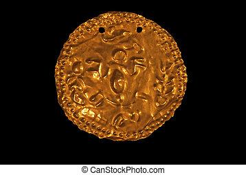 Précolombien, décoratif, or, disque