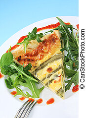 Asparagus Quiche - Asparagus quiche with rocket and baby...