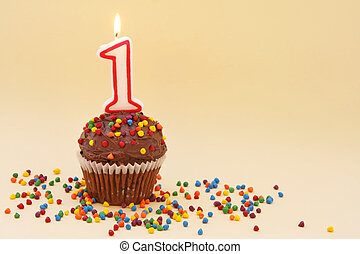 Cupcake with Number One Candle