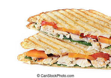 Chicken and Veggie Sandwich - Toasted chicken and vegetable...