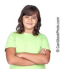 Adorable preteen girl isolated on white background